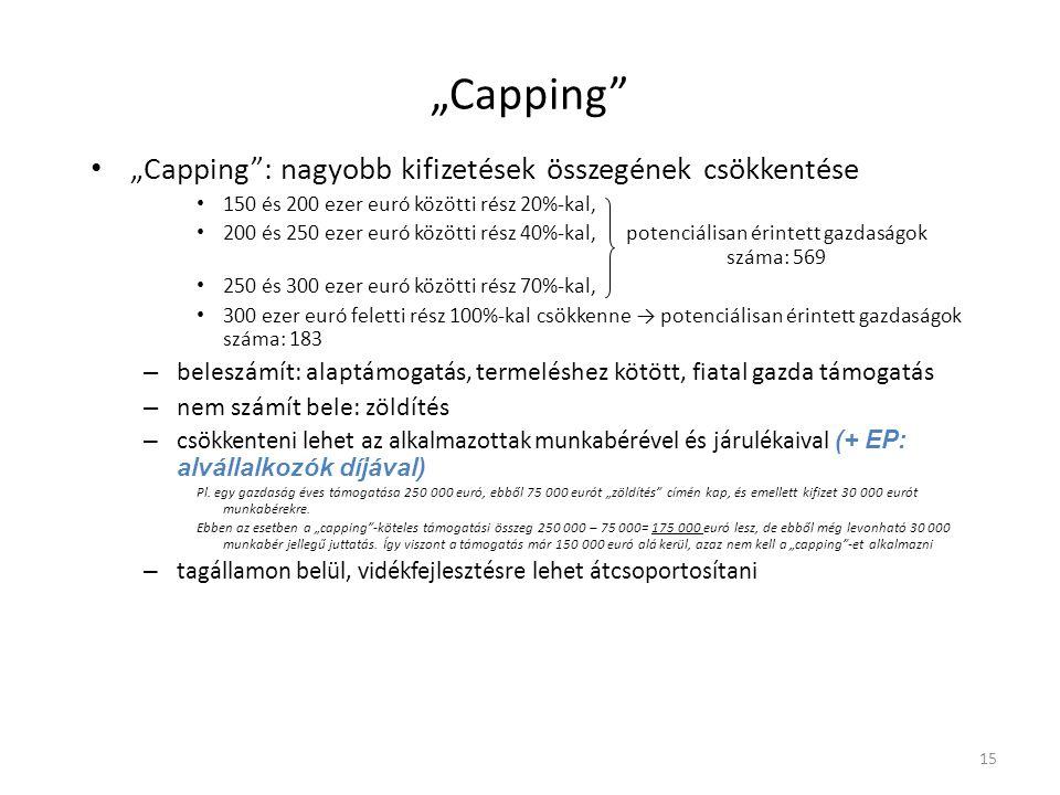 """""""Capping"""" • """"Capping"""": nagyobb kifizetések összegének csökkentése • 150 és 200 ezer euró közötti rész 20%-kal, • 200 és 250 ezer euró közötti rész 40%"""