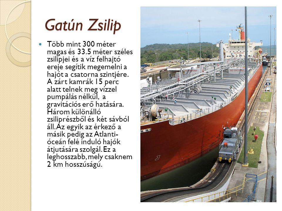 Gatún Zsilip  Több mint 300 méter magas és 33.5 méter széles zsilipjei és a víz felhajtó ereje segítik megemelni a hajót a csatorna szintjére. A zárt