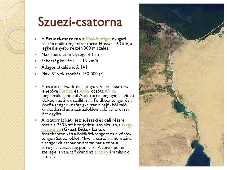 Szuezi-csatorna  A Szuezi-csatorna a Sínai-félsziget nyugati részén épült tengeri csatorna. Hossza 163 km, a legkeskenyebb részén 300 m széles.Sínai-