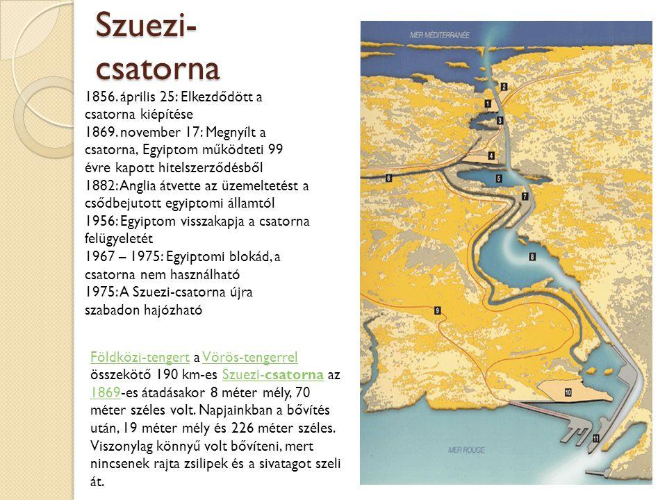 Szuezi- csatorna 1856. április 25: Elkezdődött a csatorna kiépítése 1869. november 17: Megnyílt a csatorna, Egyiptom működteti 99 évre kapott hitelsze