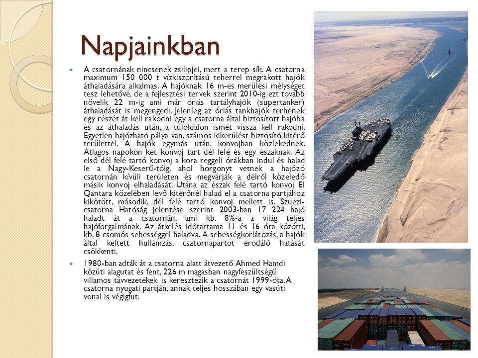 Panama-csatorna A 82 kilométer hosszú csatorna 1914-es átadása jelentős állomás volt a világkereskedelem fejlődésében.