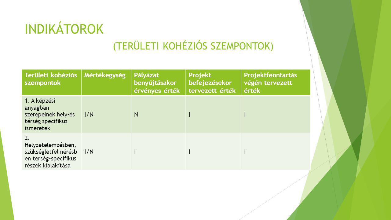INDIKÁTOROK (TERÜLETI KOHÉZIÓS SZEMPONTOK) Területi kohéziós szempontok MértékegységPályázat benyújtásakor érvényes érték Projekt befejezésekor tervez