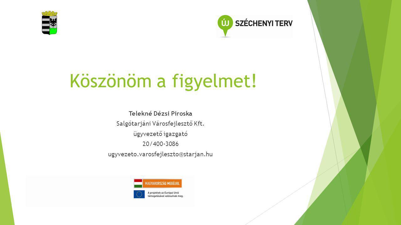 Köszönöm a figyelmet! Telekné Dézsi Piroska Salgótarjáni Városfejlesztő Kft. ügyvezető igazgató 20/400-3086 ugyvezeto.varosfejleszto@starjan.hu