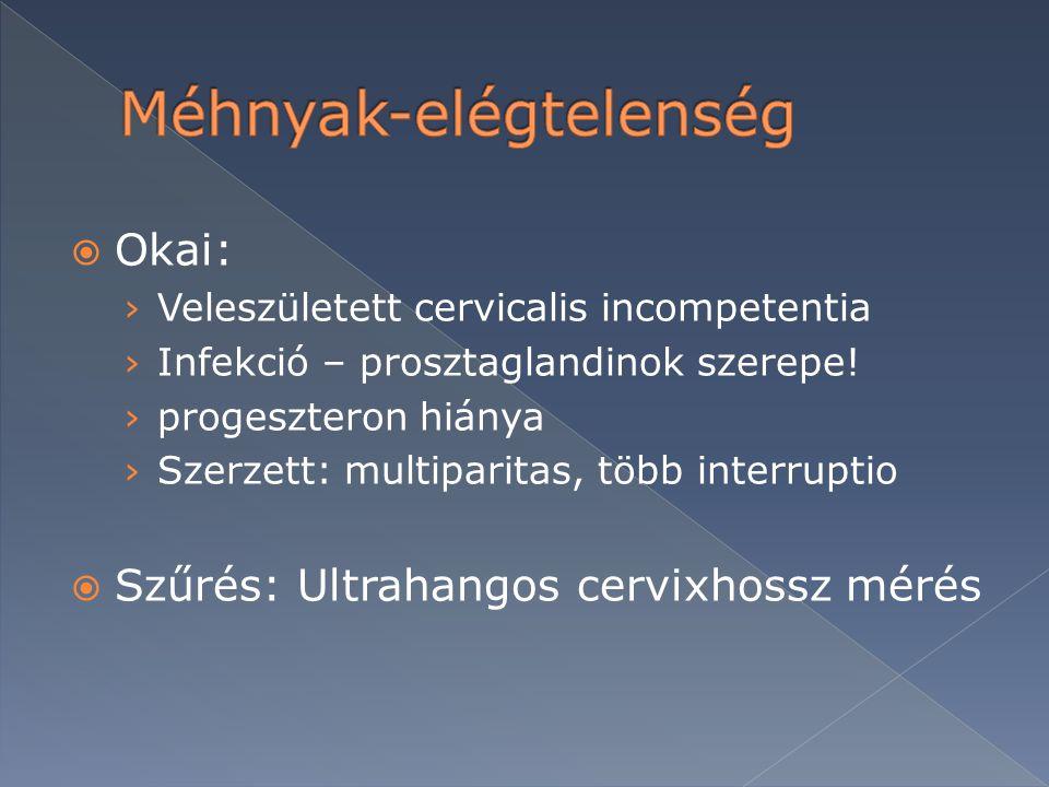  Okai: › Veleszületett cervicalis incompetentia › Infekció – prosztaglandinok szerepe! › progeszteron hiánya › Szerzett: multiparitas, több interrupt