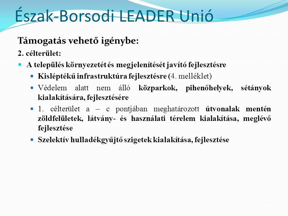 Észak-Borsodi LEADER Unió Támogatás vehető igénybe: 2. célterület:  A település környezetét és megjelenítését javító fejlesztésre  Kisléptékű infras