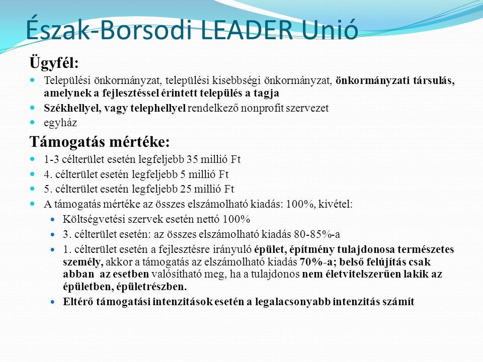 Észak-Borsodi LEADER Unió Ügyfél:  Települési önkormányzat, települési kisebbségi önkormányzat, önkormányzati társulás, amelynek a fejlesztéssel érin