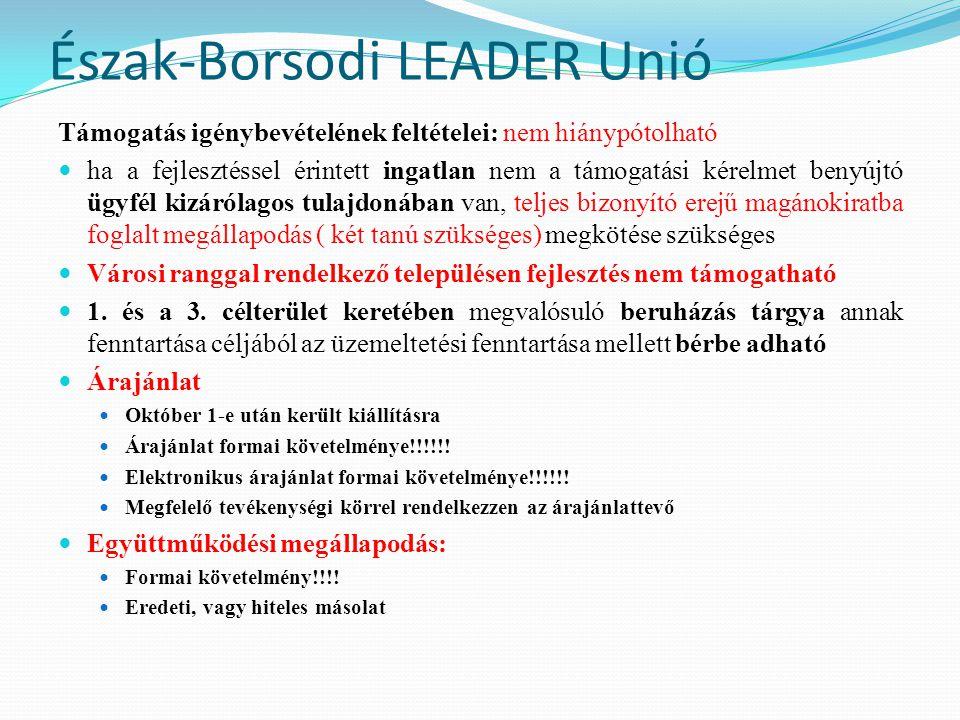 Észak-Borsodi LEADER Unió Támogatás igénybevételének feltételei: nem hiánypótolható  ha a fejlesztéssel érintett ingatlan nem a támogatási kérelmet b