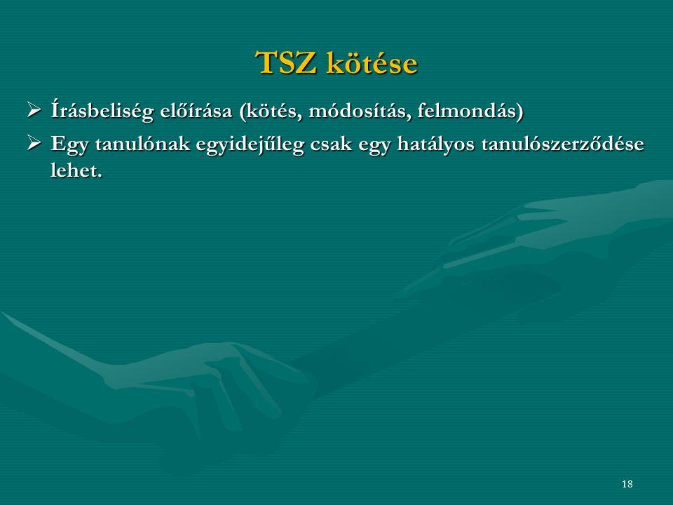 TSZ kötése  Írásbeliség előírása (kötés, módosítás, felmondás)  Egy tanulónak egyidejűleg csak egy hatályos tanulószerződése lehet.