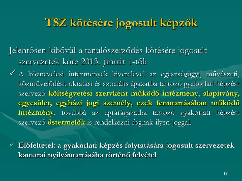 TSZ kötésére jogosult képzők Jelentősen kibővül a tanulószerződés kötésére jogosult szervezetek köre 2013.