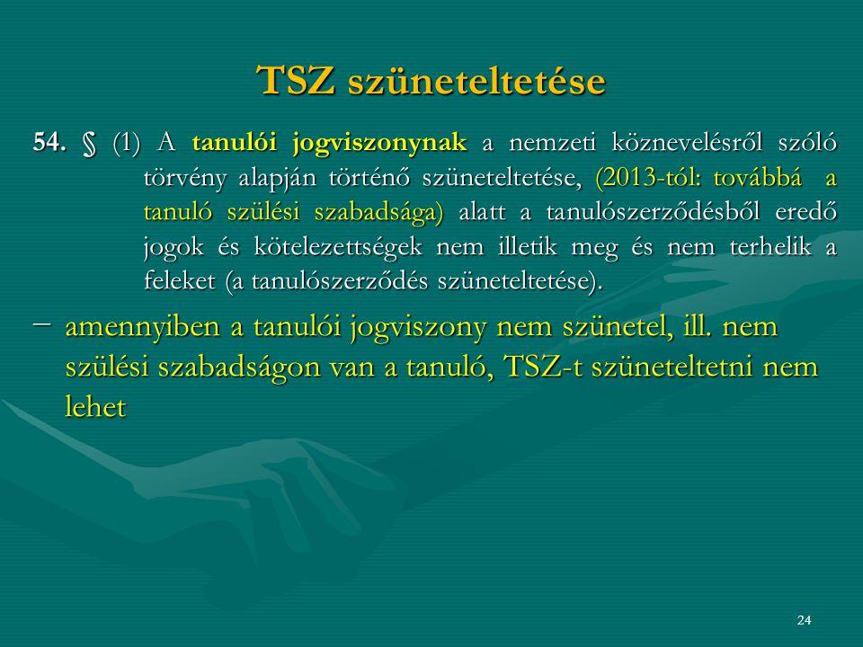 TSZ szüneteltetése 54.