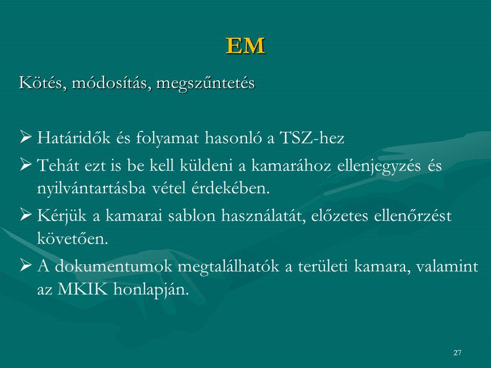 EM Kötés, módosítás, megszűntetés   Határidők és folyamat hasonló a TSZ-hez   Tehát ezt is be kell küldeni a kamarához ellenjegyzés és nyilvántartásba vétel érdekében.