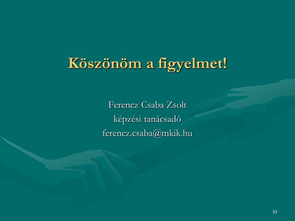 Köszönöm a figyelmet! Ferencz Csaba Zsolt képzési tanácsadó ferencz.csaba@mkik.hu 31