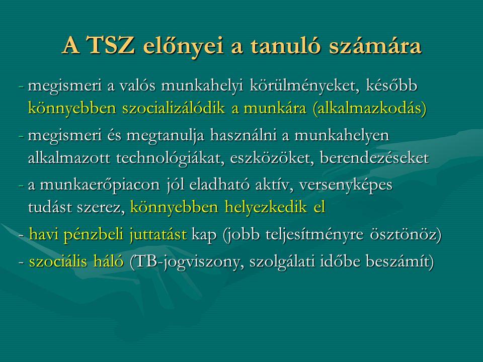 TSZ kötése TSZ  iskolai rendszerű szakképzésben,  magyarországi székhellyel rendelkező köznevelési intézményben,  nappali rendszerű iskolai oktatás keretében részt vevő,  tanulóval (tanulói jogviszony!),  az adott képzés első szakképzési évfolyamának kezdetétől kezdődő hatállyal,  az előírt eü és pályaalkalmassági követelményeknek megfelelő tanulóval,  nappali munkarend szerinti felnőttoktatásban is köthető.