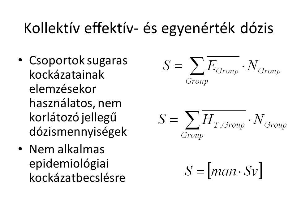 Kollektív effektív- és egyenérték dózis • Csoportok sugaras kockázatainak elemzésekor használatos, nem korlátozó jellegű dózismennyiségek • Nem alkalm