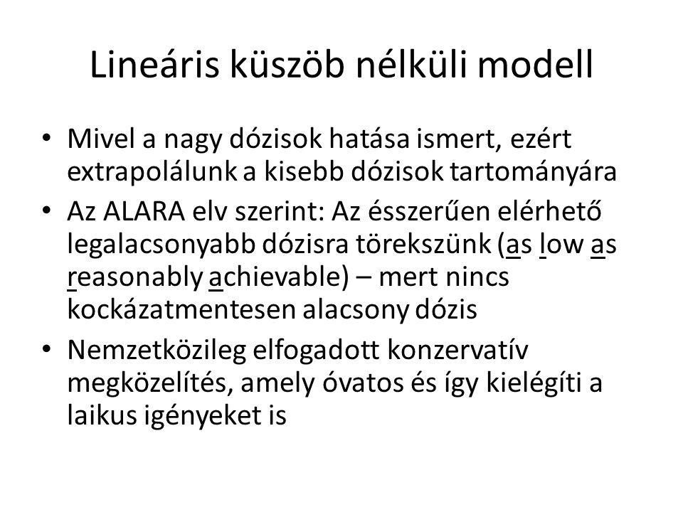 Lineáris küszöb nélküli modell • Mivel a nagy dózisok hatása ismert, ezért extrapolálunk a kisebb dózisok tartományára • Az ALARA elv szerint: Az éssz