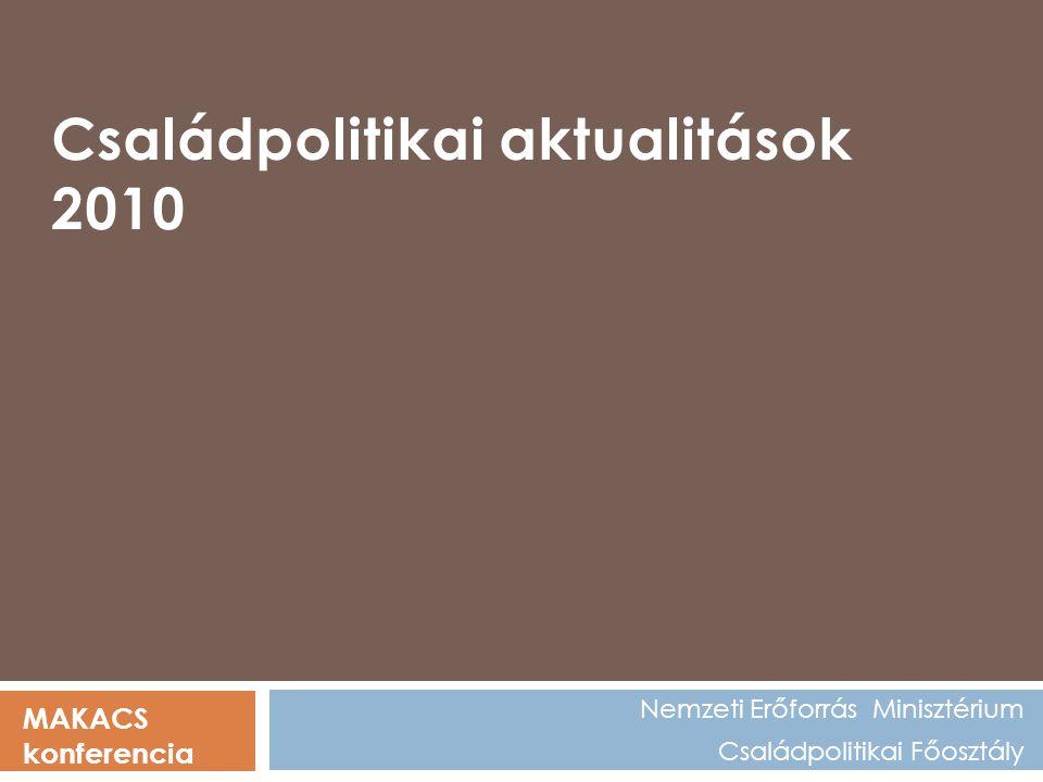 Nemzeti Erőforrás Minisztérium Családpolitikai Főosztály MAKACS konferencia Családpolitikai aktualitások 2010