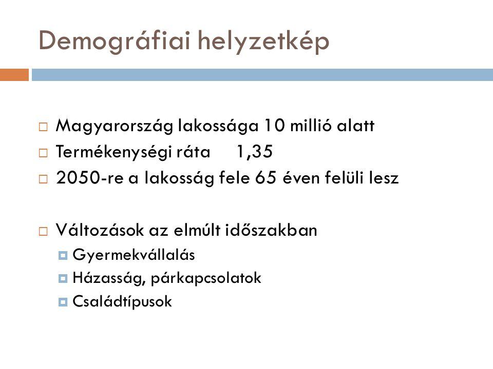 Demográfiai helyzetkép  Magyarország lakossága 10 millió alatt  Termékenységi ráta 1,35  2050-re a lakosság fele 65 éven felüli lesz  Változások a