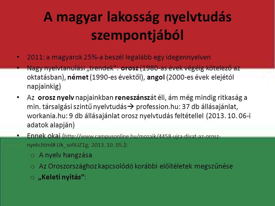 """A magyar lakosság nyelvtudás szempontjából • 2011: a magyarok 25%-a beszél legalább egy idegennyelven • Nagy nyelvtanulási """"trendek"""": orosz (1980-as é"""