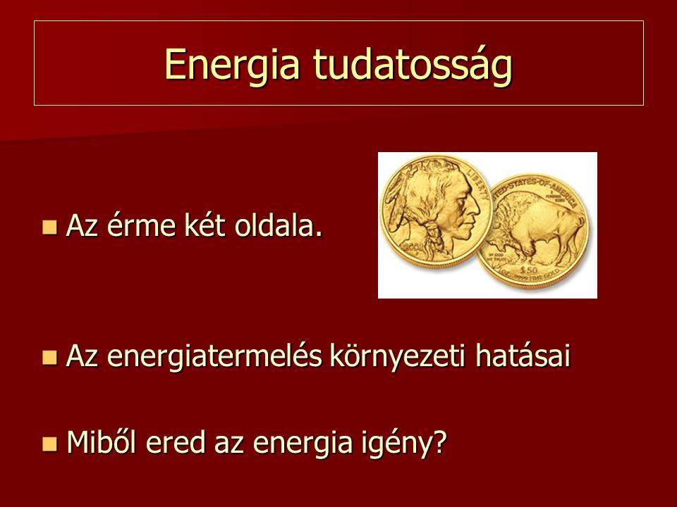 Energia tudatosság  Az érme két oldala.  Az energiatermelés környezeti hatásai  Miből ered az energia igény?