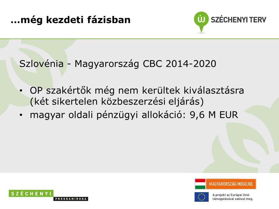 …még kezdeti fázisban Szlovénia - Magyarország CBC 2014-2020 • OP szakértők még nem kerültek kiválasztásra (két sikertelen közbeszerzési eljárás) • ma