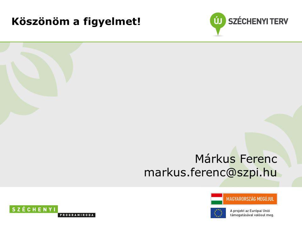 Köszönöm a figyelmet! Márkus Ferenc markus.ferenc@szpi.hu