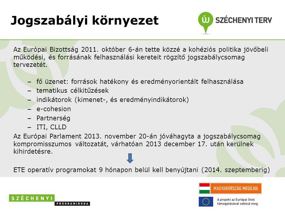 Jogszabályi környezet Az Európai Bizottság 2011. október 6-án tette közzé a kohéziós politika jövőbeli működési, és forrásának felhasználási kereteit