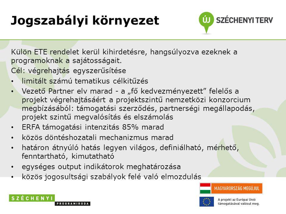 Jogszabályi környezet Külön ETE rendelet kerül kihirdetésre, hangsúlyozva ezeknek a programoknak a sajátosságait. Cél: végrehajtás egyszerűsítése • li