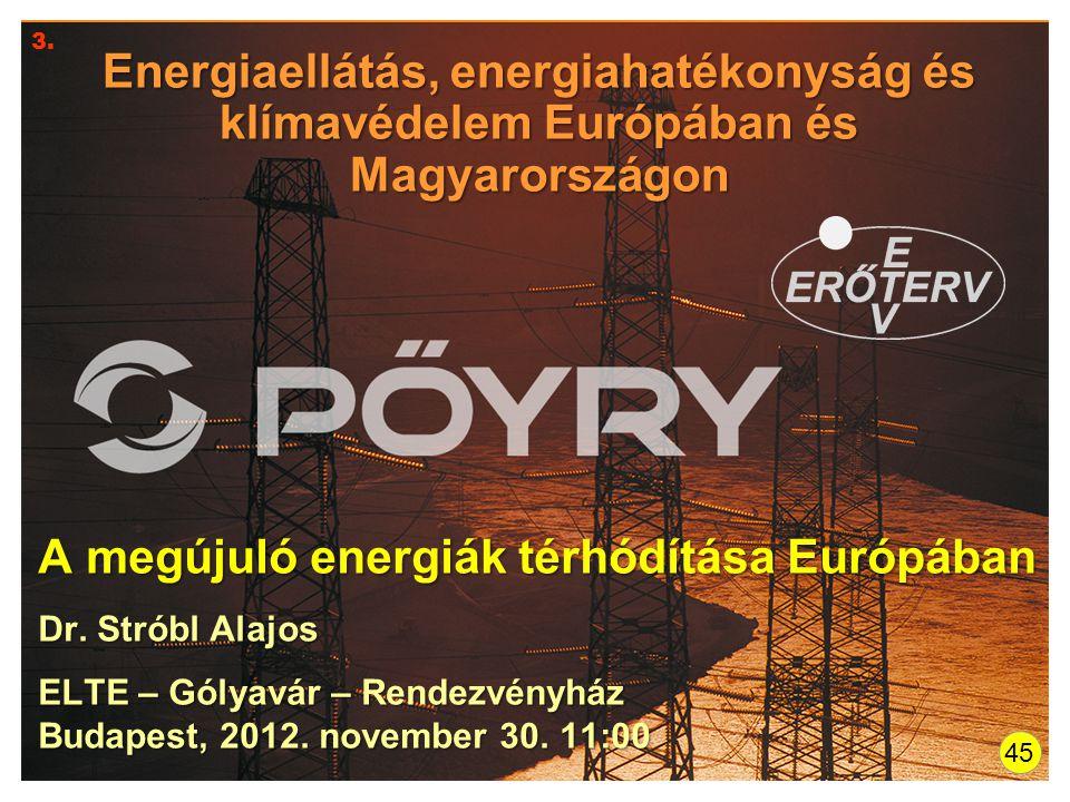Energiaellátás, energiahatékonyság és klímavédelem Európában és Magyarországon A megújuló energiák térhódítása Európában Dr. Stróbl Alajos ELTE – Góly