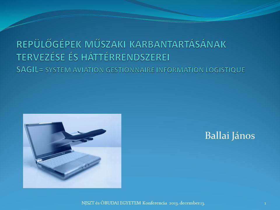 TÉMAKÖRÖK  Bevezetés:Karbantartási követelmények, rendszerek – repülésbiztonság, ATA- IATA szabványok  Helyzetfelmérés – informatikai stratégia- döntés  SAGIL rendszer felépítése, funkciói  A rendszer bevezetésének hatása-eredmények NJSZT és ÓBUDAI EGYETEM Konferencia 2013.