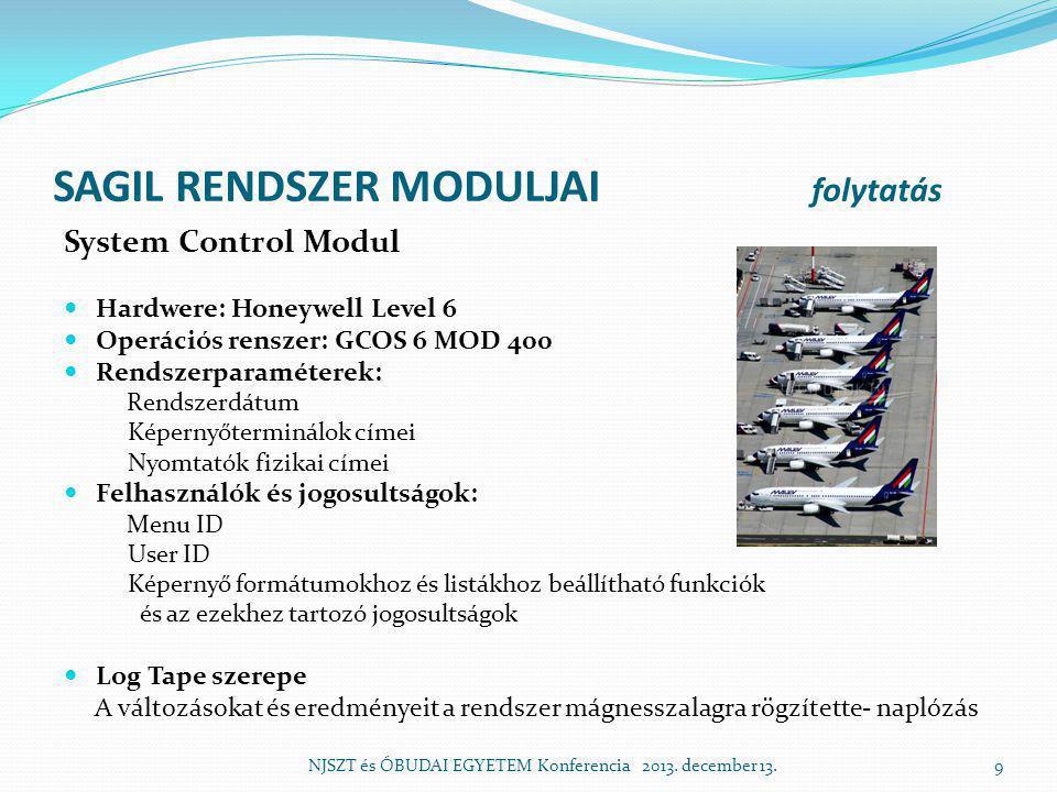 SAGIL RENDSZER MODULJAI folytatás System Control Modul  Hardwere: Honeywell Level 6  Operációs renszer: GCOS 6 MOD 400  Rendszerparaméterek: Rendszerdátum Képernyőterminálok címei Nyomtatók fizikai címei  Felhasználók és jogosultságok: Menu ID User ID Képernyő formátumokhoz és listákhoz beállítható funkciók és az ezekhez tartozó jogosultságok  Log Tape szerepe A változásokat és eredményeit a rendszer mágnesszalagra rögzítette- naplózás NJSZT és ÓBUDAI EGYETEM Konferencia 2013.