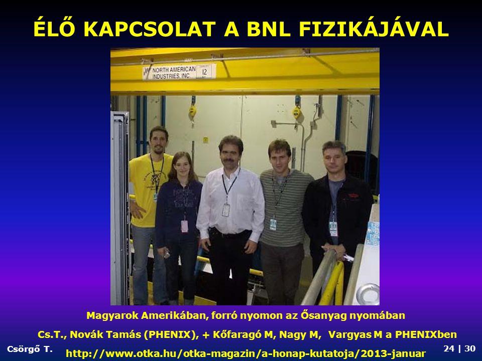 ÉLŐ KAPCSOLAT A CERN FIZIKÁJÁVAL Csörgő T.