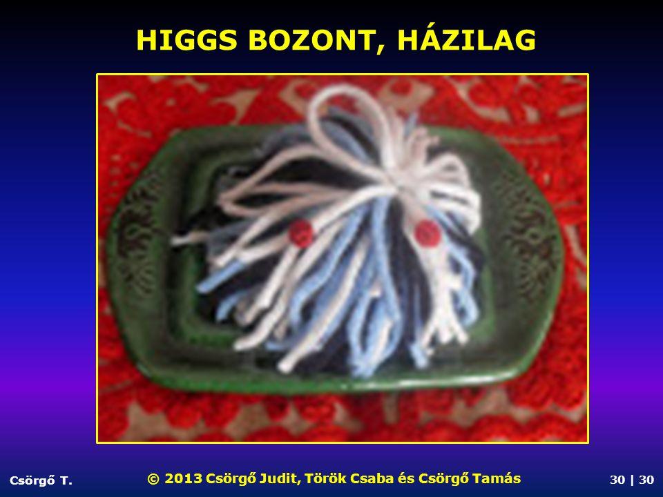 HIGGS BOZONT, HÁZILAG Csörgő T. © 2013 Csörgő Judit, Török Csaba és Csörgő Tamás 30 | 30