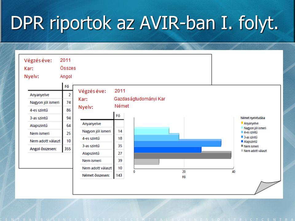 DPR riportok az AVIR-ban I. folyt.
