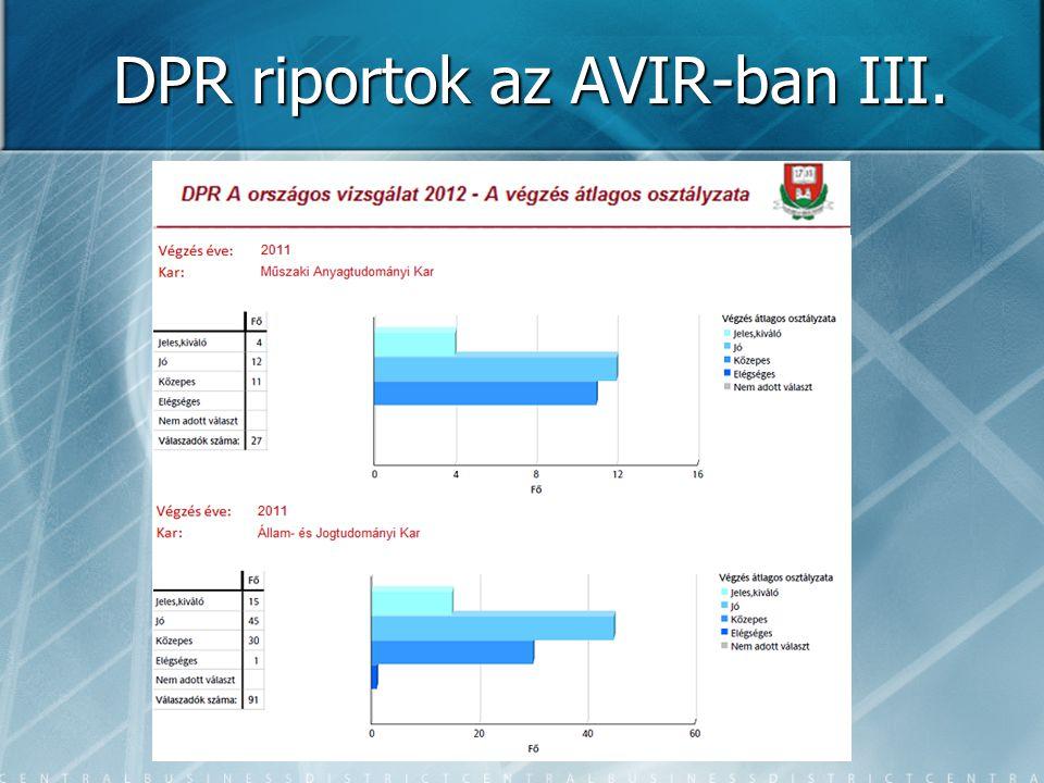 DPR riportok az AVIR-ban III.
