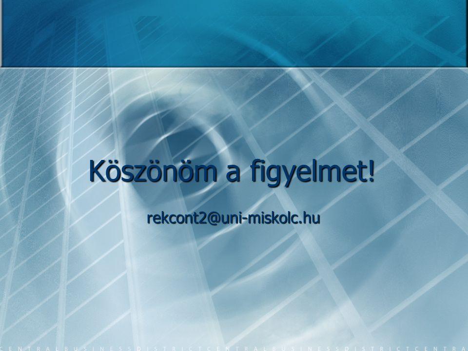 Köszönöm a figyelmet! rekcont2@uni-miskolc.hu