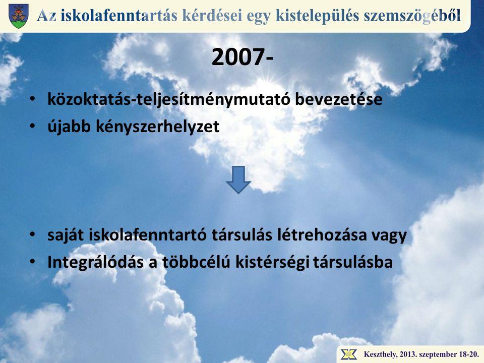 2007- • közoktatás-teljesítménymutató bevezetése • újabb kényszerhelyzet • saját iskolafenntartó társulás létrehozása vagy • Integrálódás a többcélú kistérségi társulásba