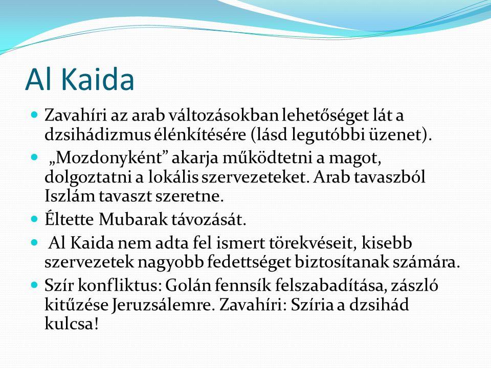 Al Kaida regionális szervezetek  Al Kaida az Iszlám Magrebben, al Kaida az Arab félszigeten, al Kaida Irakban, Szíriában különösen veszélyes Izraelre.