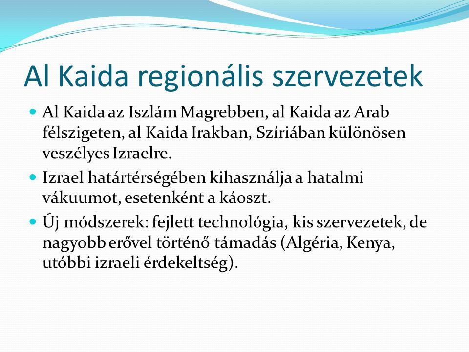 Al Kaida regionális szervezetek  Al Kaida az Iszlám Magrebben, al Kaida az Arab félszigeten, al Kaida Irakban, Szíriában különösen veszélyes Izraelre