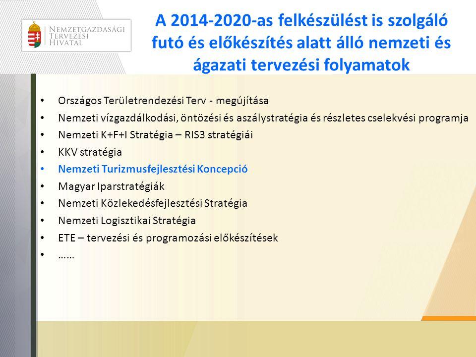 A 2014-2020-as felkészülést is szolgáló futó és előkészítés alatt álló nemzeti és ágazati tervezési folyamatok • Országos Területrendezési Terv - megújítása • Nemzeti vízgazdálkodási, öntözési és aszálystratégia és részletes cselekvési programja • Nemzeti K+F+I Stratégia – RIS3 stratégiái • KKV stratégia • Nemzeti Turizmusfejlesztési Koncepció • Magyar Iparstratégiák • Nemzeti Közlekedésfejlesztési Stratégia • Nemzeti Logisztikai Stratégia • ETE – tervezési és programozási előkészítések • ……