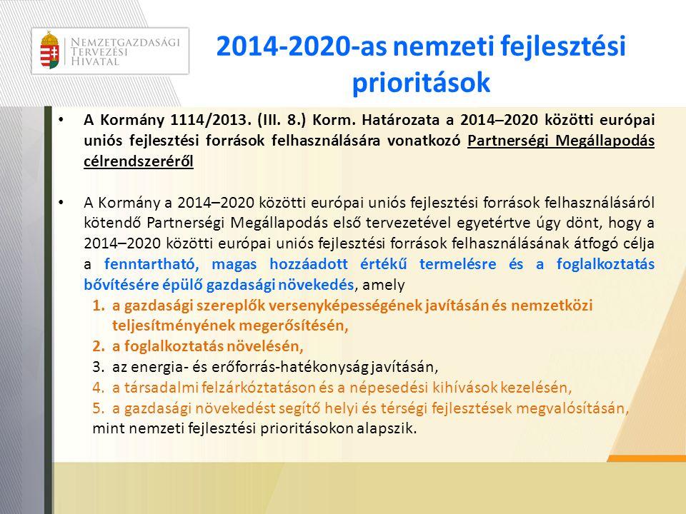 2014-2020-as nemzeti fejlesztési prioritások • A Kormány 1114/2013. (III. 8.) Korm. Határozata a 2014–2020 közötti európai uniós fejlesztési források