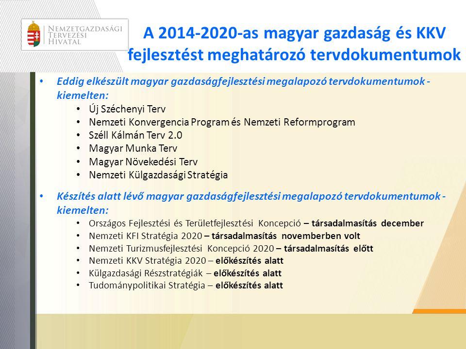 A 2014-2020-as magyar gazdaság és KKV fejlesztést meghatározó tervdokumentumok • Eddig elkészült magyar gazdaságfejlesztési megalapozó tervdokumentumo