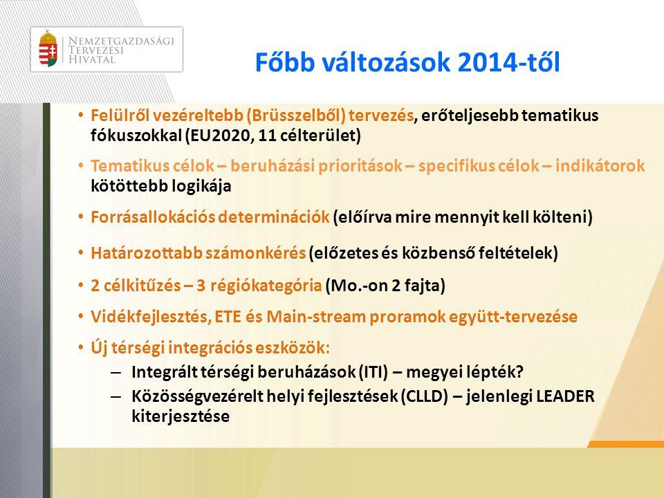 Főbb változások 2014-től • Felülről vezéreltebb (Brüsszelből) tervezés, erőteljesebb tematikus fókuszokkal (EU2020, 11 célterület) • Tematikus célok –