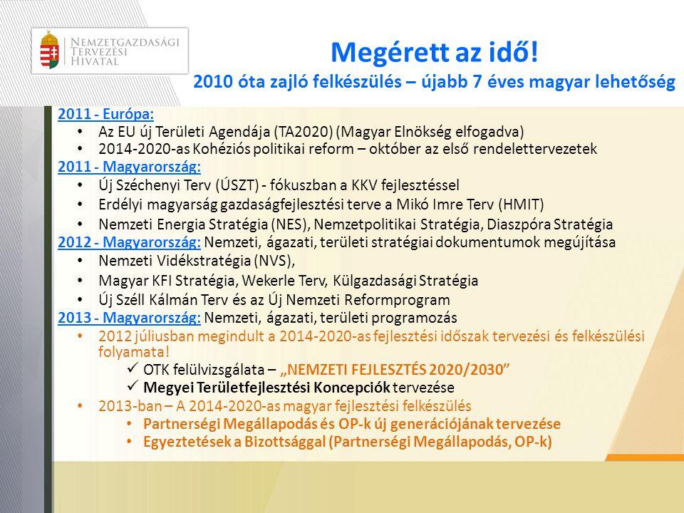 Megérett az idő! 2010 óta zajló felkészülés – újabb 7 éves magyar lehetőség 2011 - Európa: • Az EU új Területi Agendája (TA2020) (Magyar Elnökség elfo