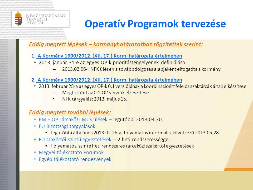 Operatív Programok tervezése Eddig megtett lépések – kormányhatározatban rögzítettek szerint: 1. A Kormány 1600/2012. (XII. 17.) Korm. határozata érte