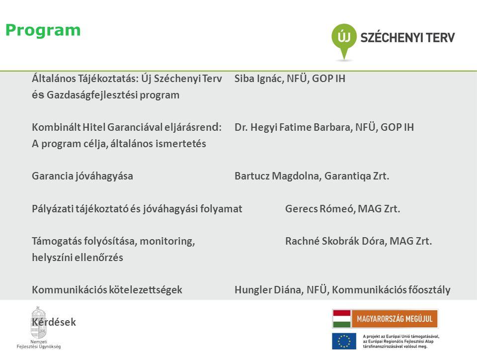 Program Általános Tájékoztatás: Új Széchenyi Terv Siba Ignác, NFÜ, GOP IH és Gazdaságfejlesztési program Kombinált Hitel Garanciával eljárásren d :Dr.