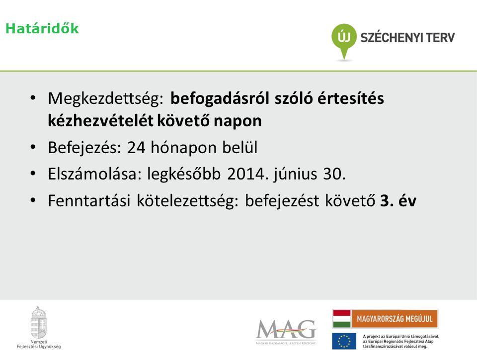 Határidők • Megkezdettség: befogadásról szóló értesítés kézhezvételét követő napon • Befejezés: 24 hónapon belül • Elszámolása: legkésőbb 2014.