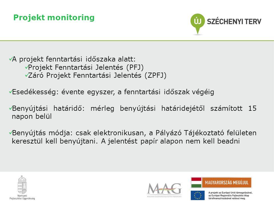 Projekt monitoring  A projekt fenntartási időszaka alatt:  Projekt Fenntartási Jelentés (PFJ)  Záró Projekt Fenntartási Jelentés (ZPFJ)  Esedékesség: évente egyszer, a fenntartási időszak végéig  Benyújtási határidő: mérleg benyújtási határidejétől számított 15 napon belül  Benyújtás módja: csak elektronikusan, a Pályázó Tájékoztató felületen keresztül kell benyújtani.