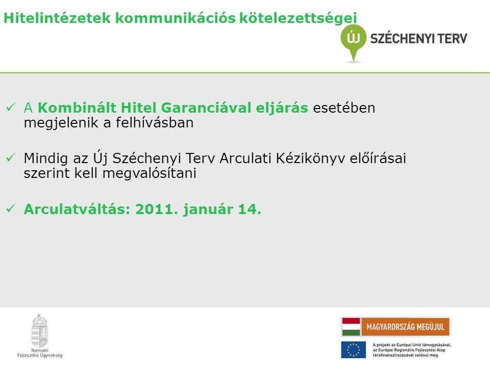 Hitelintézetek kommunikációs kötelezettségei  A Kombinált Hitel Garanciával eljárás esetében megjelenik a felhívásban  Mindig az Új Széchenyi Terv Arculati Kézikönyv előírásai szerint kell megvalósítani  Arculatváltás: 2011.