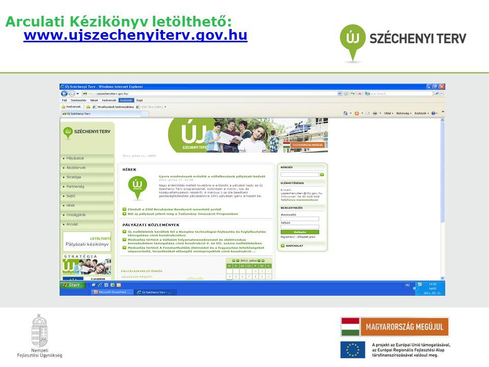 Arculati Kézikönyv letölthető: www.ujszechenyiterv.gov.hu www.ujszechenyiterv.gov.hu