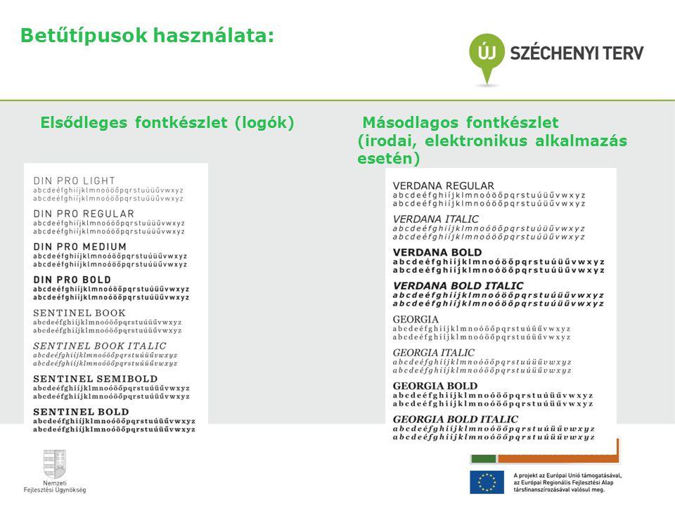 Betűtípusok használata: Elsődleges fontkészlet (logók) Másodlagos fontkészlet (irodai, elektronikus alkalmazás esetén)